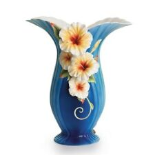 "FRANZ PORCELAIN ""TROPICAL BEAUTY - HIBISCUS FLOWER DESIGN VASE""  FZ1789  MIB"