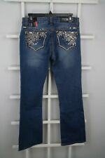 Premiere Women's Denim Jeans Size 7/8 Regular Bootcut Dark Blue Embroidered 1103