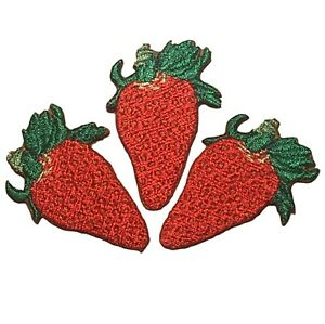 """Strawberry Applique Patch - Food Berry Badge 1-5/8"""" (3-Pack, Iron on)"""