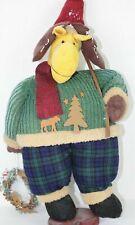 Christmas Moose Reindeer Fabric Figure Wood Base 28 inches Wang Intl
