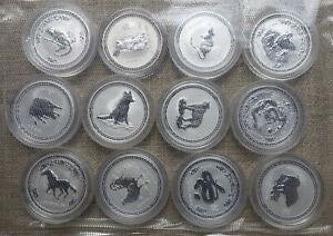 Perth Mint Lunar I, 12 x 2 oz Silbermünzen, BU-Set 1999-2010, in Sammlerqualität