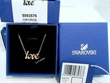 Swarovski Emotion Necklace LOVE Rose Gold-Plated Clear Crystal Authentic 5093576