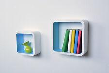 Regal Double Cube 2er Set Wandregal Hängeregal Bücherregal Quarder - weiß blau