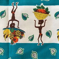 Vintage Barkcloth Remnant With African Character Print, Turquoise, White, Brown.