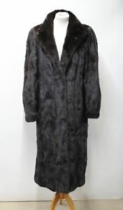 JOS ROBITAILLE Ladies Vintage Brown Real Fur Long Sleeve Coat Approx. M