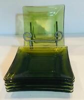 "VINTAGE Avocado Green Glass Appetizer Sandwich Snack 6"" Square Plates Set of 6"