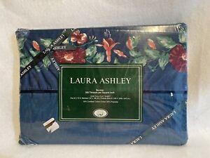 NOS Laura Ashley Blue Moire Print Cotton Blend Vtg Floral Stripe Full Flat Sheet
