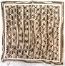 "Vera Ladies Polyester Scarf 21"" X 21"" Cream & Brown Polka Dots & Stripes"
