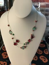 Christmas necklace with crystals and beads