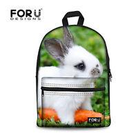 Cute Rabbit Animal Backpack Women Girl Canvas Rucksack Shoulder School Book Bag