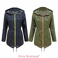Ladies Womens Rain Mac Jacket Coat Fishtail Parka Hooded Showerproof Cagoule
