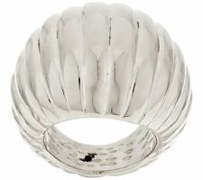 VICENZA SILVER ITALIAN STERLING SILVER BOLD DOMED RIBBED RING SIZE 5 QVC $89.50