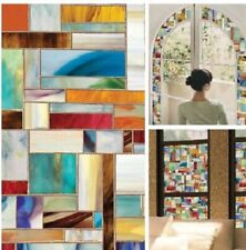Stained Glass Decorative Window Film Privacy No Adhesives UV Protection 24