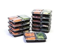 Manage Meal 3 Compartment Lunch Boxes - 10 Pack - Food Preparation and Storage