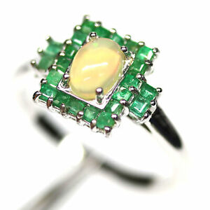NATURAL 5 X 7 mm. MULTICOLOR OPAL & GREEN EMERALD RING 925 SILVER SIZE 8