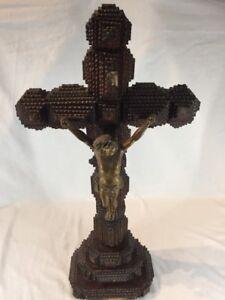 Large Antique Carved Wood Tramp Art Crucifix Jesus Cross Folk Art (ref G567)