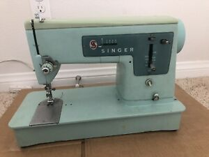 Vintage 1960s Singer Model 337 Sewing Machine Turquoise Blue Untested