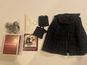 American Girl Samantha Plaid Cape & Gaiters New without box & ice skate with box