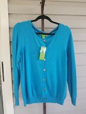Island Republic Cardigan Gold LOGO Button-Down Blues M NWT$89