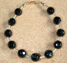 "8mm Onyx Bracelet 14k GF Twisted Separator Findings Glass Seed Beads 7 3/4"" #183"