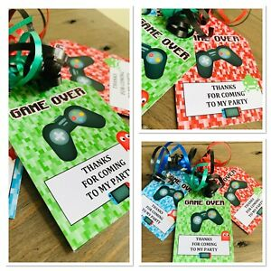 5 X PERSONALISED GAMING GAMER PARTY BAG TAGS GIFT TAGS PARTY BAG LABELS FAVOURS
