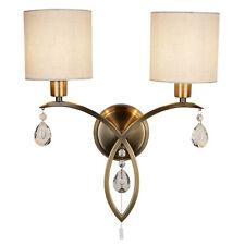Searchlight Alberto 2 Light Antique Brass Shades Wall Bracket Indoor Lighting