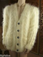 Mohair Handmade Fluffy Thick White Cream Men's V-Neck Cardigan Sweater, sz L-XL