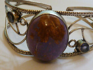 Silver Bangle with Large Mauve Stone and Amythyst Gemstones - 27.1 grams