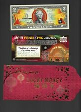 2019 YEAR OF THE PIG $2 US BILL LUCKY MONEY BY GOLDEN NUGGET CERTIFIED