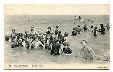 Pre 1915 Unused Post Card Villerville La Baignade France Beach 65 Cliche A Bera