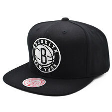 Brooklyn Nets NBA TEAM GROUND Snapback Mitchell & Ness Hat - Black/White