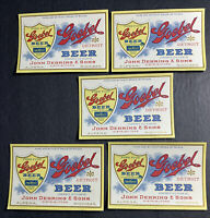 Lot Of 5 Goebel Beer Labels Preprohibition NOT IRTP  Detroit Alpena Michigan