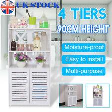 Waterproof White Wooden Bathroom Cabinet Shelf Cupboard Bedroom Storage Unit UK