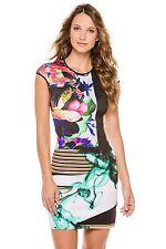 NWOT CLOVER CANYON bodycon neoprene floral Liquid Jade dress size S - $315
