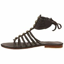 Cocobelle City  Brown Gladiator Leather Studded Ankle Strap Sandals Shoes 8