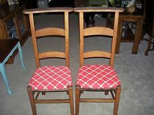 2 Antique Ladderback Country French Farmhouse Prayer Chairs RePurposed Seats$125