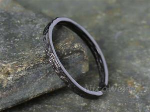 Silberring Bandring Schlicht Schmal Schwarz Mit struktur Ring Silber 925