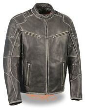 Milwaukee Leather Men's Vintage Distressed Grey Leather Scooter Jacket **MLM1536