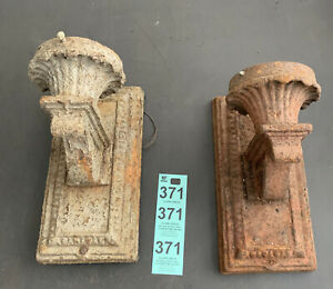 Antique Matching Pair Cast Iron & Metal Indoor Outdoor Wall Porch Light Sconces