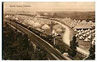 Antique military WW1 printed postcard Morfa Camp Conway & train railway track