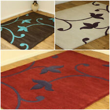 FLORAL TULIP DESIGNER 100% PURE INDIAN WOOL CLEARANCE RUGS CHOCOLATE CREAM RED
