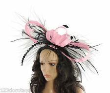 BLACK/Candy Pink Fascinator Hat for weddings/ascot/proms P2