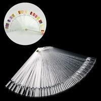 50 x False Nail Art Tips Board Sticks Polish Display Fan Practice Tool Clear GS