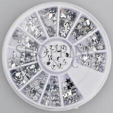 Nail Rhinestones Gems Art Diamante Fashion Glitter Jewels Silver Multi Shapes