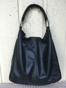LUCKY BRAND Women's Genuine Leather Slouchy Whip Stitch Hobo Handbag. Black