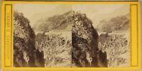 Francia Paisaje Montaña c1870 Ardoisieres Angers Foto Estéreo Vintage Albúmina