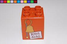 Lego Duplo - Rnig Also Klingel - Winnie Pooh - braun - 2x2 4er hoch - Motivstein