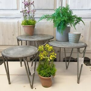 3x Galvanised Metal Table Nest Rustic Plant Side Grey Low Level Conservatory