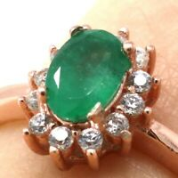 .6 Ct Authentic Emerald Halo Ring Women Wedding Engagement Jewelry 14K Rose Gold