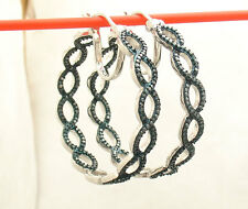"1 3/8"" Infinity Inside Out Blue Diamond Hoop Earrings REAL 925 Sterling Silver"